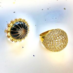 2 Goldtone Cocktail / Statement Rings